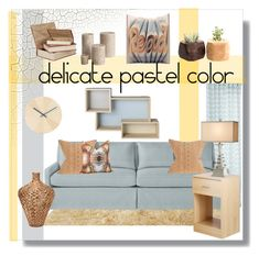 """Delicate Pastel Color in Living Room"" by chinnok-design ❤ liked on Polyvore featuring interior, interiors, interior design, home, home decor, interior decorating, OKA, Discipline, Serena & Lily and Barclay Butera"