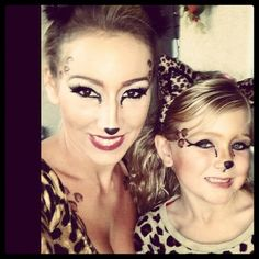 Mother/daughter leopard makeup for Halloween