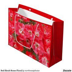 Red Shrub Roses Floral Large Gift Bag
