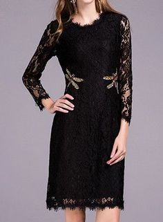 Autumn New Dragonfly Beading Green/Black Lace Dress Women's High Quality Long Sleeve Slim Dress