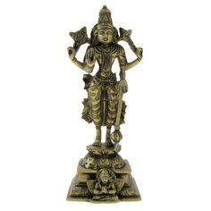 Amazon.com: Lord Vishnu Brass Statue Antique Figurines: Home & Kitchen