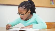 Student taking test for dysgraphia