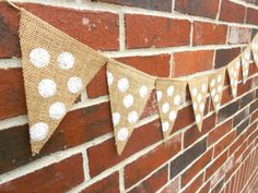 Polka Dot Burlap Banner Garland  Perfect for Parties, Baby Showers, & Bridal Showers by IsabooDesigns, $17.50 Burlap Baby, Burlap Bunting, First Birthday Parties, First Birthdays, Wedding Silverware, Peter Rabbit Party, Cute Banners, Baby Sprinkle, Do It Yourself Home