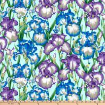 Bearded Iris, Japanese Chrysanthemum, Blue Geode, Free Spirit Fabrics, Cotton Quilting Fabric, Beautiful Patterns, Green And Grey, Fabric Design, Sewing Projects
