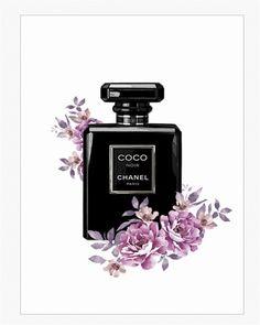 Print // Perfume bottle coco chanel // Bouteille parfum Coco Chanel // fleurs aquarelle