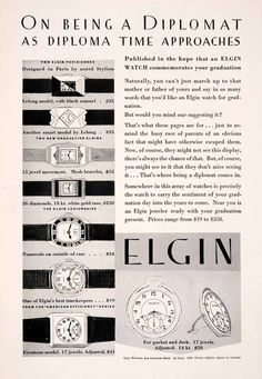1929 Elgin watch ad. I like everything about this pin!