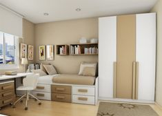 Teens Bedroom White Small Bedroom for Teenager: Yes Or No?: Sharp Modern Small Teen Bedroom Theme With Soft Creamy Mix White Painted Wall And Two Tone Color Furniture Set Along Grayish Rug Bedroom Layouts, Bedroom Themes, Bedroom Sets, Bedroom Decor, Bedroom Designs, White Bedroom, Small Bedroom Furniture, Brown Furniture, Furniture Ideas