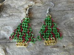Christmas Tree Chain Maille Earrings