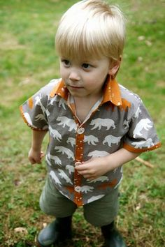 birchfabrics.  Feather River fabrics. Make this adorable boys shirt out of the Bear Hike Shroom, with this awesome free pattern and tutorial by The Crafty Kitty.