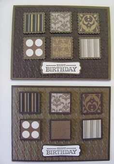 lovely brown card using the herringbone embossing folder and patterned paper inches that look like little pieces of art...