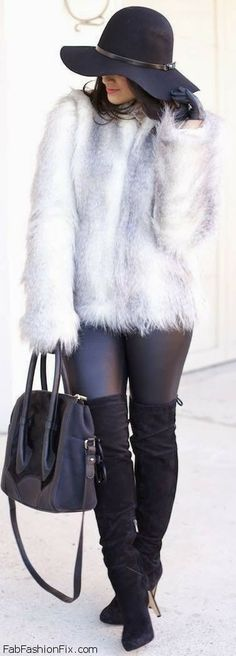Black over the knee boots and faux fur coat