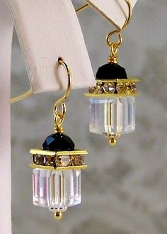 ON SALE!!! $20. REG. $34. Swarovski Cube Crystal Earrings- Crystal Clear AB- Jet Black- Earrings- Handmade Jewelry Gift for Her/Woman - Holiday Wear- Gold