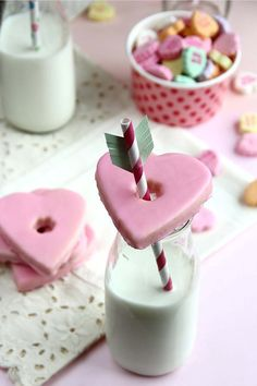 Heart-Shaped Cookies and Milk