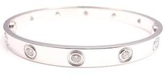 Mint Authentic Cartier 18K White Gold Love 10 Diamond Bangle Bracelet Size 16 | eBay - $11,499