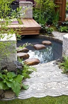Small pond in modern garden - A Japanese Tranquil Retreat Garden www.smashwords.co... Smashwords www.amazon.com/... Amazon anitasaffordablea... Anitas Affordable Apartments