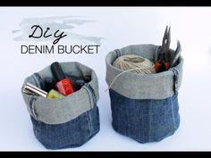 DIY Upcycled Denim Bucket - YouTube