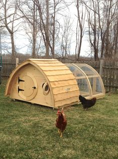 Happy Hens!  Our Hobbit Hole coops are available in three sizes to accommodate a few birds up to a flock of 30 with multiple customization...