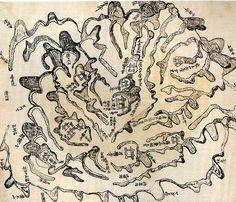 강릉오대산지도(江陵五臺山地圖) 채색필사본. 19세기. 95.0 * 56.3cm. 영남대학교 박물관 소장