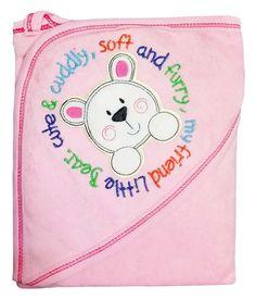 Embroidery Hooded Pink Baby Towel - 302. Buy here http://fkrt.it/kJkQouNN