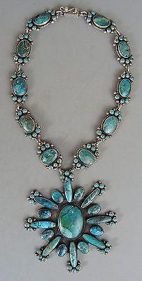 AWESOME-Huge-FEDERICO-JIMENEZ-Turquoise-Silver-Pendant-Choker-Necklace: