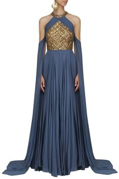 Greyish Blue Sequins Embellished Cape Sleeves Gown By Sanya Gulati  #ethnic #traditional #pernia #perniaspopupshop #ethnicwear #indianwear #shopnow #sanyagulati