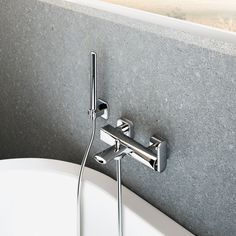 Wall-mounted bath mixer diverter and shower set, Chrome finishing
