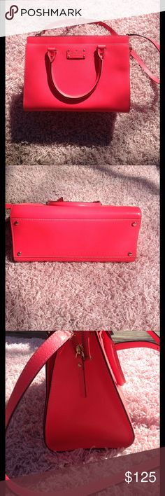 KATE SPADE Wellesley Durham Bright pink Kate spade bag with adjustable/removable shoulder strap. In good condition with minor imperfections pictured. Has tiny pen marks that are barely noticeable on the back. (Shown in 5th picture). Inside is clean with the exception of a few makeup stains show in picture 6. And a small coffee stain I just noticed I also attached a picture of that. Perfect for spring/summer. kate spade Bags