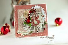 """Beautiful vintage Christmas Card """"Snowballs""""by Elena Olinevich. Papers from MajaDesign's collection """"I Wish""""."""