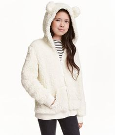 Check this out! Jacket in soft pile with a lined hood with attached ears. Zip and side pockets at front. Jersey lining. - Visit hm.com to see more.