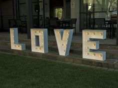Light up any room with our beautifully hand-crafted large LOVE lights and create an awesome atmosphere at any event. Our large love lights are x Love And Light, Light Up, Awesome, Outdoor Decor, Party, Wedding, Home Decor, Valentines Day Weddings, Decoration Home