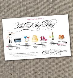 The Big Day Timeline  5x7 Digital File by EventswithGrace on Etsy, $25.00