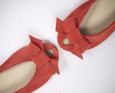 Handmade Geranium Leather Peep Toe Bow Ballet Flats Shoes  www.elehandmade.etsy.com