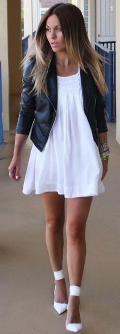 #september #trending #outfits | Black Jacket + Little White Dress