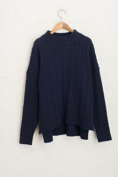 High Neck Cable Knit Jumper, Navy