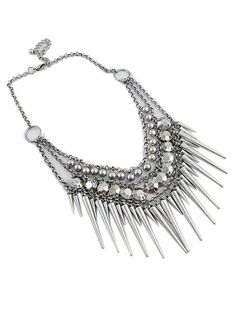 Shop Antique Bohemia Stud And Bead Chain Statement Necklace from choies.com .Free shipping Worldwide.$6.11