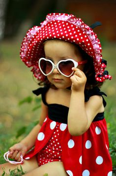 Cute ladybug girl... red, black, white, polka dots, shades