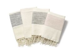 """Soft, natural hand towels with textured cotton ribs. Hand-spun cotton, handwoven by women in Ethiopia. Measures 21"""" x 27""""100% cotton. Machine wash, tumble dry"""
