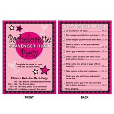 Bachelorette Party Scavenger Hunt Game...I mean why can't I use this for my birthday?? Just as important/fun