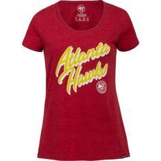 '47 Atlanta Hawks Women's Italic Wordmark Club Scoop Neck T-shirt (Red, Size Medium) - Pro Licensed Product, Women's Nba Licensed at Academy Sports