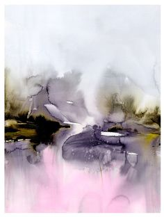 Abstract Watercolor Painting Landscape Large 30x40in Giclèe Canvas Wrap Print : Fields by martaspendowska. Explore more products on http://martaspendowska.etsy.com