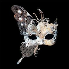 Gold With White Accents Venetian Butterfly Mask