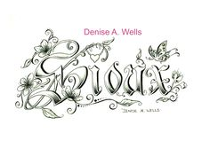 """""""Sioux"""" Tattoo Design by Denise A. Wells. This lettering tattoo design includes Cherry Blossoms, leaves, hanging heart charm, butterfly and filigree..."""