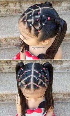 Latest And Trending Little Girl Hairstyles For a more seasoned little girl who's prepared for an increasingly refined haircut, attempt this extravagant bee sanctuary pony tails with crass cross front design. It's ideal for a formal wedding Easy Little Girl Hairstyles, Baby Girl Hairstyles, Kids Braided Hairstyles, Hairstyles Haircuts, Trendy Hairstyles, Kids Hairstyle, Hairstyles Videos, Wedding Hairstyles, Everyday Hairstyles