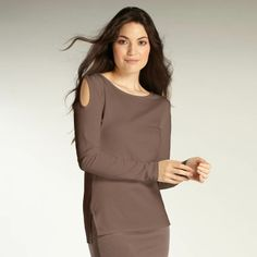 Womens organic cotton long sleeve top - The Luxury Cutout Tee in Taupe from INDIGENOUS ethical, fair trade fashion.