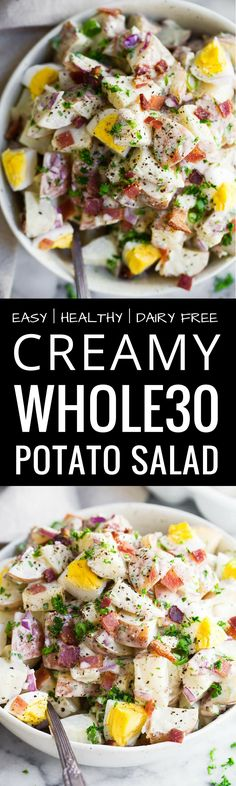 Creamy Whole30 Potato Salad. The best paleo potato…