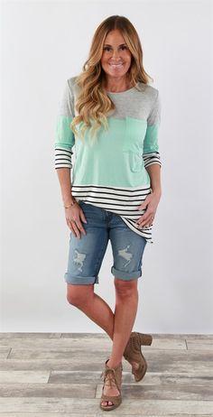 Colorblock Striped Tunic | S-XL