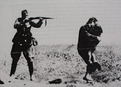 In one of the most infamous pictures of WWII, a member of the SS prepares to shoot a Jewish woman with her back to him, desperate to protect her child. A single bullet from his rifle was sufficient for both at such intimate range .. anecdote, the shooter - a hungarian auxiliary - was drunk when he did this, and upon sobering up, was so horrified at his deed that he committed suicide ...