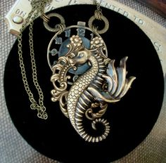 Winged Sea Dragon Necklace. Steampunk Creature