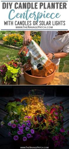DIY candle planter centerpiece | DIY flower pot candle holder | DIY solar light planter centerpiece | DIY flower pot solar lights | Terra cotta potted plant candle holder | Easy 10-minute DIY outdoor candle planter | DIY clay pot candle holder ideas | DIY outdoor solar light ideas | #TheNavagePatch #easydiy #DIY #HowTo #planter #tutorial #gardendecor #DIYHomedecor #centerpiece #solarlights #upcycled #repurposed #weddingideas #flowerarrangement | TheNavagePatch.com