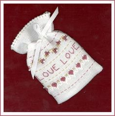 Pattern is Teeny Tiny Love Bag from Victoria's Sampler.